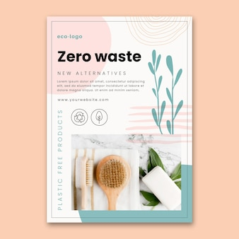 Zero waste plastic free products flyer template