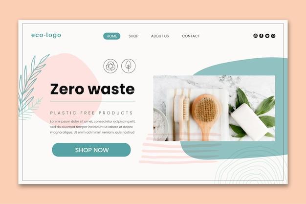 제로 폐기물 플라스틱 무료 제품 방문 페이지 템플릿