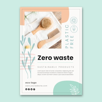 Zero waste plastic free products poster template