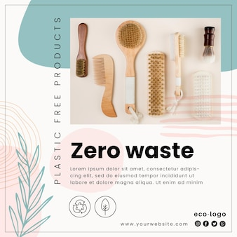 Zero waste plastic free products square flyer template