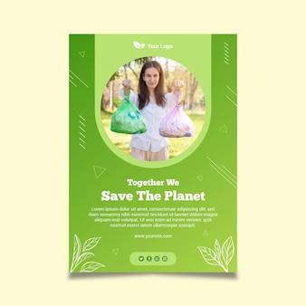Modello di poster di rifiuti zero