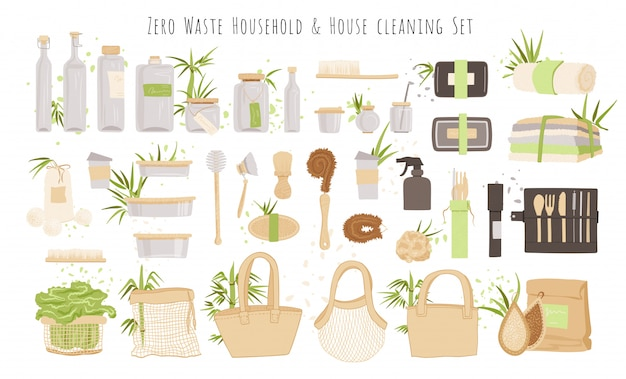 Набор кухонной, бытовой и бытовой уборки zero waste products. ланч-бокс, стеклянная упаковка, многоразовые пакеты, столовые приборы и щетки для дома с бамбуковыми, хлопковыми декоративными элементами. экология множество.