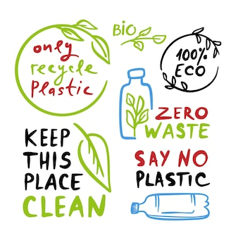 Zero waste quotes ecological environmental pollution problem of nature earth by plastics with leaves and branches with text   illustration set