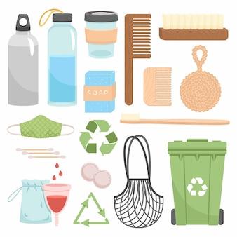 Нулевые отходы вторичной переработки и многоразового использования. пойдите в зеленый цвет, в эко-стиле, без пластика, сохраните на планете предметы для дома, покупок и косметики. прочная коллекция