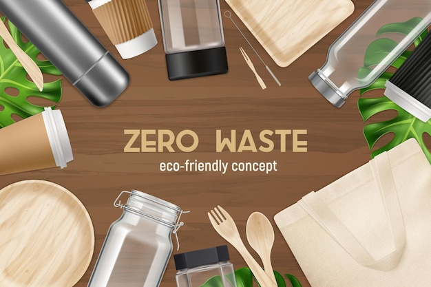 ゼロウェイストリサイクル再利用製品環境にやさしいリアルな上面図