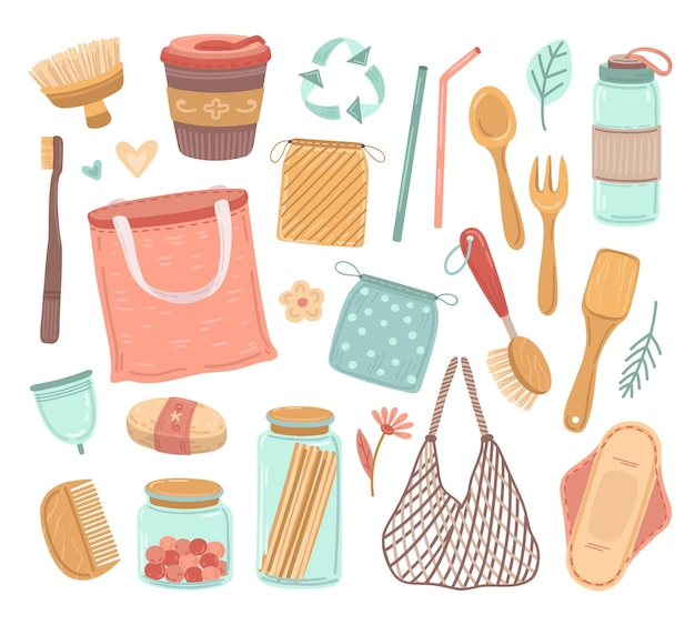 제로 폐기물. 재사용 가능한 물건, 생태 생활 및 플라스틱 폐기물 감소. 재활용 유리, 쇼핑백, 바이오 병 칼 붙이 벡터 일러스트 레이 션. 바이오 및 에코 짚과 생태 요소