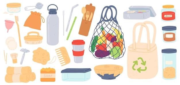 제로 폐기물. 재사용이 가능하고 플라스틱이 없고 친환경적인 제품 가방, 대나무 빨대, 용기 및 나무 수저. 가비지 벡터 세트를 줄입니다. 에코 재사용 및 재활용 폐기물 그림
