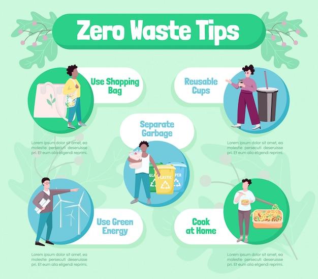 Zero waste tips flat infographic Premium Vector