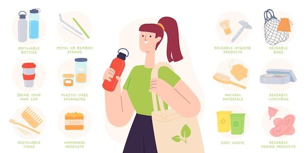 ゼロウェイストのヒント。リサイクル可能で再利用可能な製品、ボトル、カトラリー、バッグを使用してプラスチックを減らします。持続可能な生活のベクトルのインフォグラフィック。環境にやさしく、無駄をゼロにするためのイラストのヒント