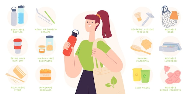 Zero waste tips. reduce plastic by using recyclable and reusable products, bottles, cutlery and bags. sustainable living vector infographic. illustration tip to eco-friendly and zero waste