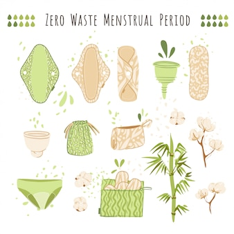 Zero waste женщина мультяшный плоский набор с экологически чистыми продуктами - многоразовые менструальные прокладки, салфетки, чашки, корзины из хлопкового текстиля.