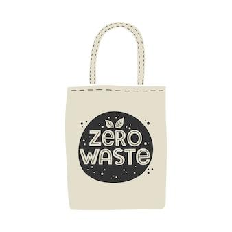 Zero wasteの文字が付いた、環境に優しい再利用可能なテキスタイルバッグ。
