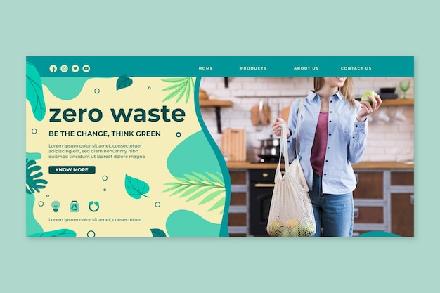 Modello di progettazione della pagina di destinazione zero wastee