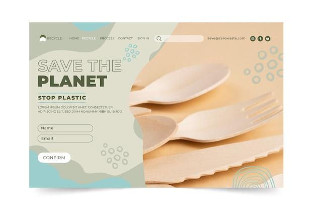 Modello di pagina di destinazione zero rifiuti