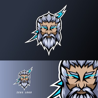 Zeus god lightning mascot sport esport logo template thick beard mustache