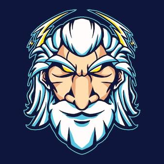 Зевс голова мультфильм дизайн векторные иллюстрации