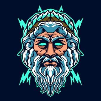 Zeus head illustration design on dark background