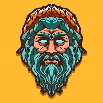 Zeus head isolated on yellow background