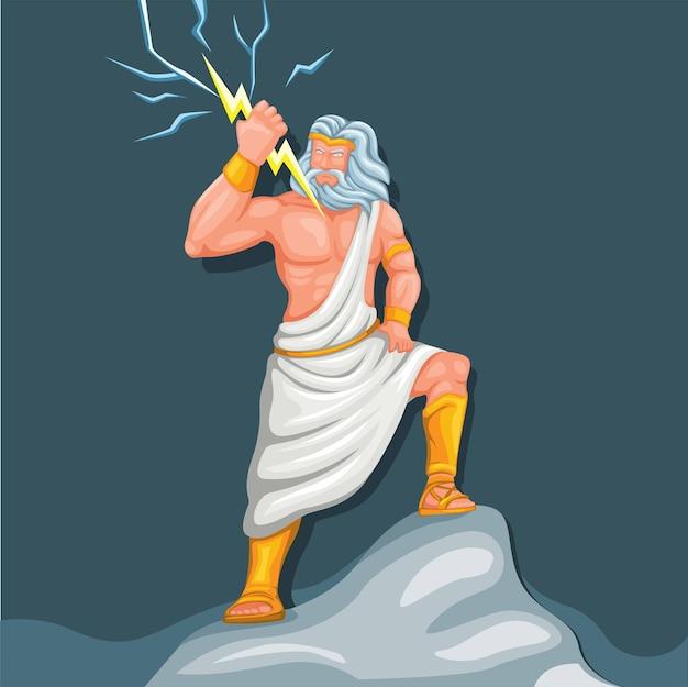 번개 모양의 캐릭터가 있는 천둥의 제우스 목성 신. 그리스 로마 신화 벡터
