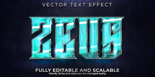 Zeusライトニングテキスト効果、編集可能なゲーム、ストームテキストスタイル