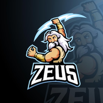Zeus mascot logo design vector with modern illustration concept style for badge, emblem and t-shirt printing. angry zeus illustration for gaming, sport and team.