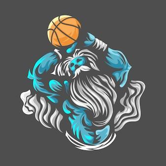 Зевс бросает мяч. баскетбол спорт. иллюстрация. логотип e sport