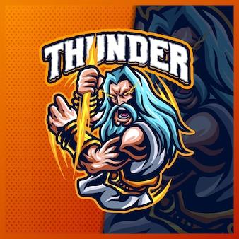 Zeus thunder god 마스코트 esport 로고 디자인 일러스트레이션 벡터 템플릿, 팀 게임 스트리머 상품을 위한 그리스 고대 신 로고, 풀 컬러 만화 스타일