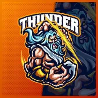 Zeus thunder god mascot esport logo design illustrations vector template, greece ancient gods logo for team game streamer merch, full color cartoon style