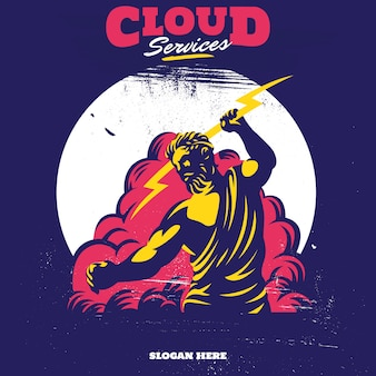 Zeus thunderbolt gods mascot cloud service apps