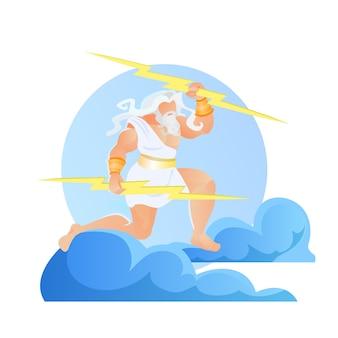 Zeus thunderer with lightnings in hands, jupiter