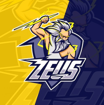 Zeus with thunder mascot esport logo design