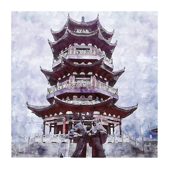 Zhuzhou china watercolor sketch hand drawn