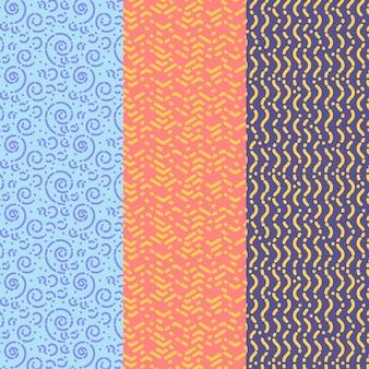 ジグザグと円形の線のシームレスなパターンテンプレート