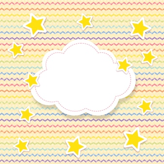 Zig zag pattern in rainbow colors with stars and text space in shape of a cloud