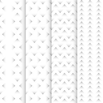 ジグザグパターンセット。白い背景パターン。