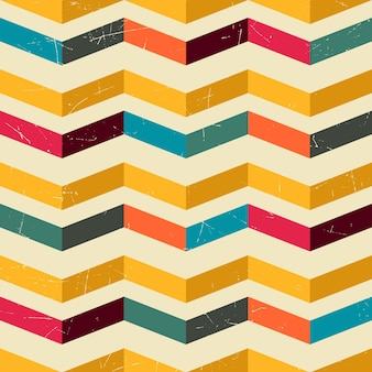 Zig zag retro color pattern with grunge filter