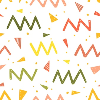Zig zags dots and triangles seamless pattern