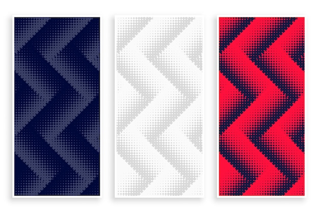 Zigzag halftone banners set in white red and black color