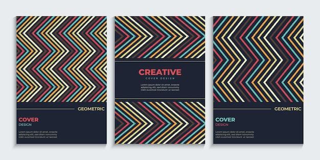 Зигзагообразные линии обложки набор с винтажными цветами