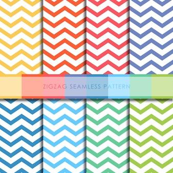 Zigzag seamless pattern vector set.