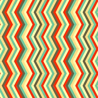 Zigzag stripes in retro colours, seamless pattern