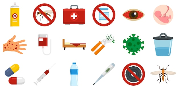 Zika virus icons set