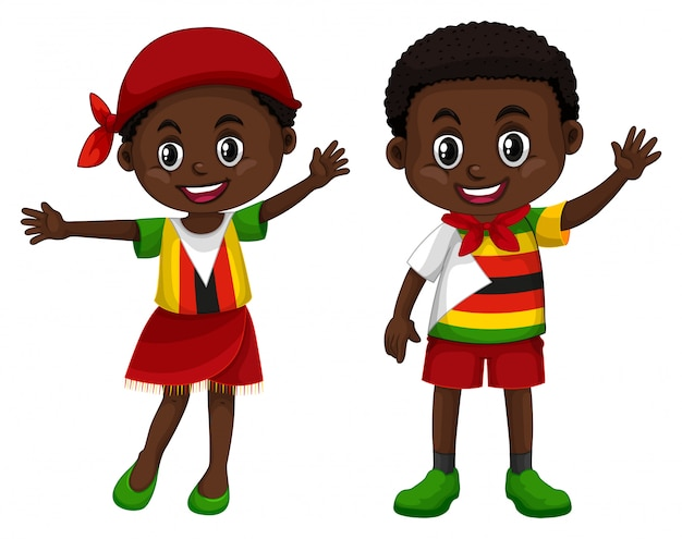 Zimbabwe boy and girl in flag color costume