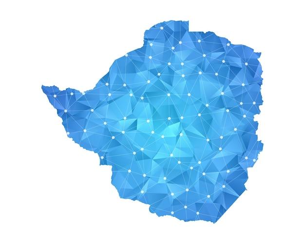 ジンバブエの地図の線の点は多角形の抽象的な幾何学的です。