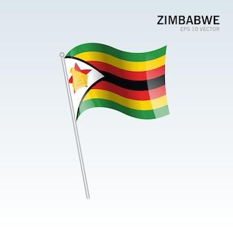 Зимбабве развевающийся флаг, изолированных на сером фоне