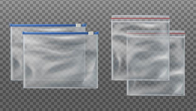 지퍼 잠금 투명 백과 지퍼 슬라이더 투명 백. 투명 배경에 서로 다른 크기의 빈 파우치.