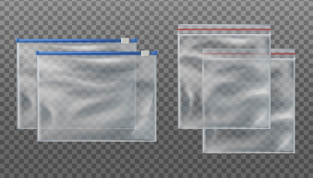 Zip lock transparent bags and zip slider transparent bags. empty pouches in different sizes on transparent background.