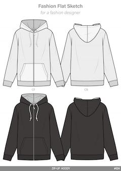 Zip-up hoody модный плоский технический чертеж шаблон
