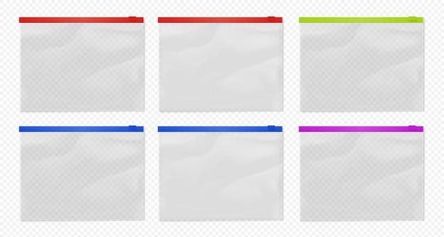 ジップロックバッグ。クリアジップロックポーチテンプレート。透明なジップロックバッグの異なる色が分離されました。ナイロンwaterproff封筒デザインイラスト
