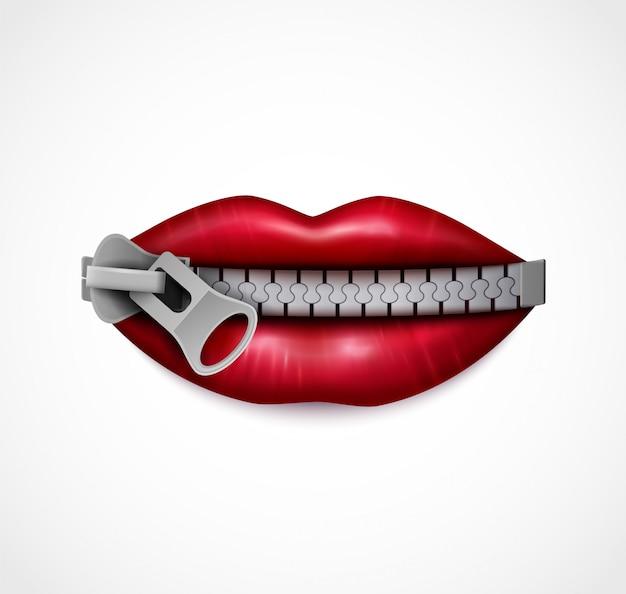 Immagine simbolica realistica del primo piano della bocca con zip delle labbra lucide rosse sigillate con chiusura a zip in metallo